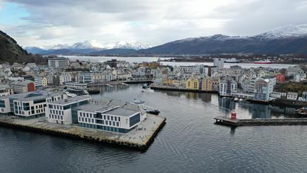 Aerial photo of Aalesund harbor. Photo.