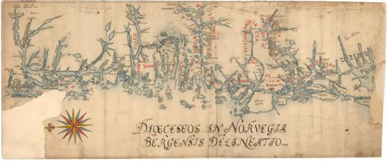 Museumskart 95: Kysten fra Fusafjorden til Tresfjorden og videre inn i Geirangerfjorden