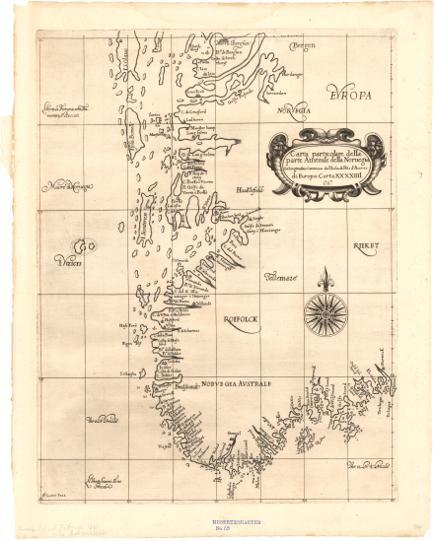 Museumskart 170: Kart over kysten fra Arendal til Bergen